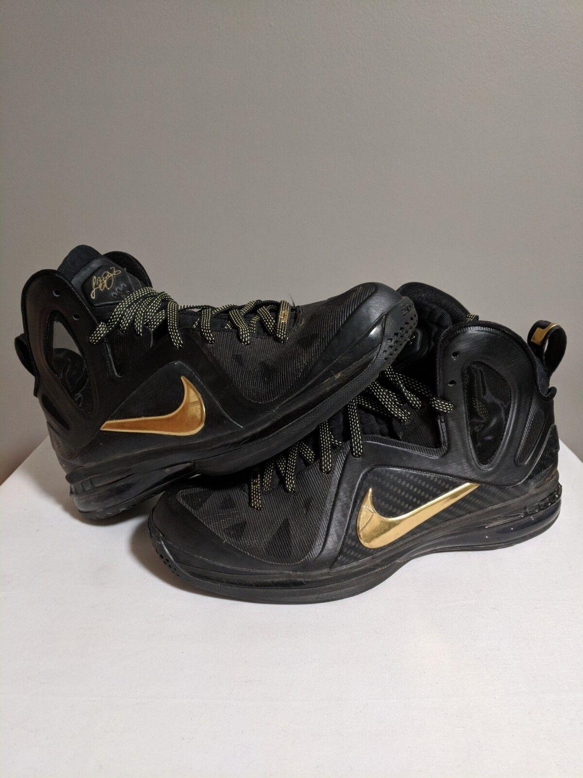Nike Air Max LEBRON IX 9 9 9 P.S. ELITE PLAYOFF AWAY BLACK gold Size 9 173272