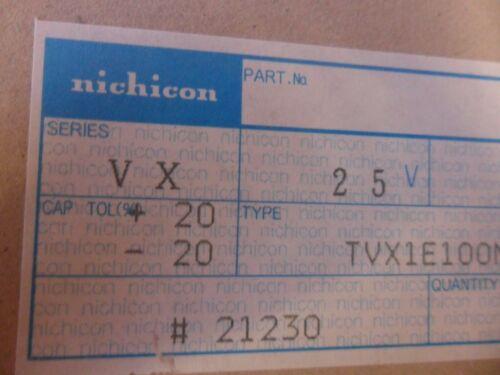 10 PER LOT TVX1E100MAA CAPACITOR 10uF 25V 5X12MM AXIAL
