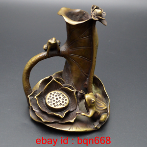 Old-China-Bronze-Frog-Lotus-Pen-container-Brush-pot-Study-Statue-Incense-burner