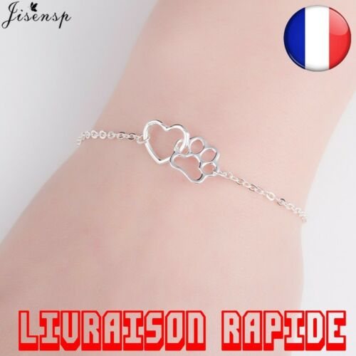 Bracelet Collier Animal Chat Chien Amour Coeur Charme Femme Patte Empreinte Pet