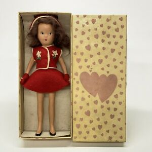 Vintage-Kerr-amp-Hinz-7-034-Bisque-Doll-Red-Felt-Dress-Outfit-Hat-amp-Mittens-With-Box
