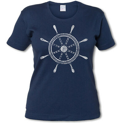 OLDSCHOOL NAUTICAL WHEEL I GIRLIE SHIRT -  Tattoo Steuerrad Anker Anchor Star