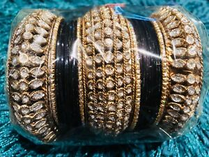 Wedding Party Jewellery Qualified 2.10 Xl Bollywood Bridal Indian Black Gold White Diamontis Bangles Churra Aa20