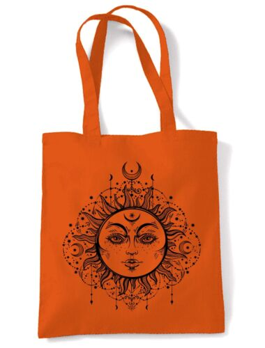 Boho Sun Hipster Tattoo Large Print Tote Shoulder Shopping Bag