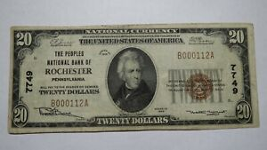 20-1929-Rochester-Pennsylvania-PA-National-Currency-Bank-Note-Bill-Ch-7749-VF