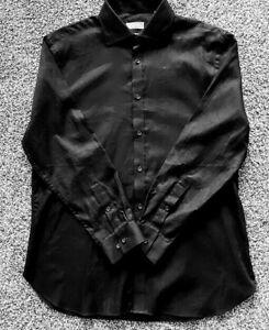 Michael-Kors-Men-039-s-Dress-Shirt-Solid-Black-Slim-Fit-15-5-32-33-Long-Sleeve-NWOT