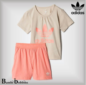 ef09b083ebf Adidas Originals Age 0-3-6 Months Baby Girl Outfit Trefoil Summer T ...