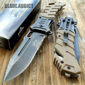 """8"""" MILITARY Tactical Combat Spring Open Assisted Pocket Rescue Knife EDC"""