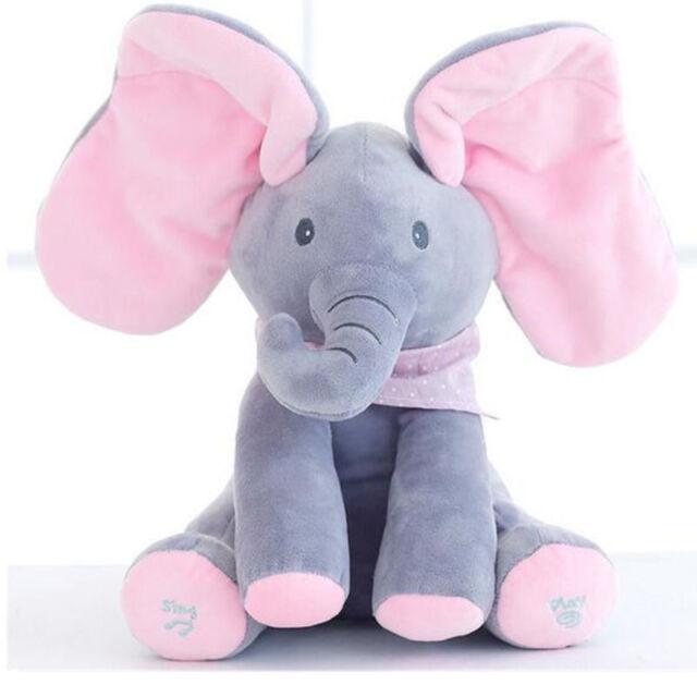 Plush Elephant Plays peek a boo, sings
