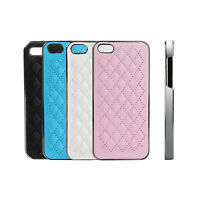 Back Aluminum PU Leather Hard Case Cover Skins 4 Colors For Apple iPhone 5 5S