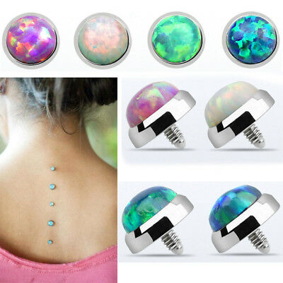 1-4PC 5mm Titanium G23 Surface Dermal Anchor Top Synthetic Opal 16G Base Plate