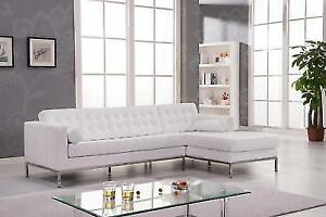 White Genuine Leather Sectional Sofa Contemporary Modern At Home USA ...
