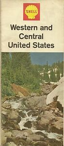 SHELL OIL Road Map WESTERN CENTRAL UNITED STATES Route - 1967 road map us