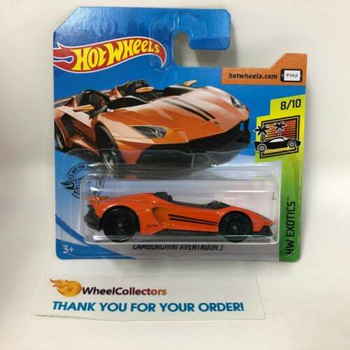 Orange S18 Lamborghini Aventador J SHORT CARD 2019 Hot Wheels Case N