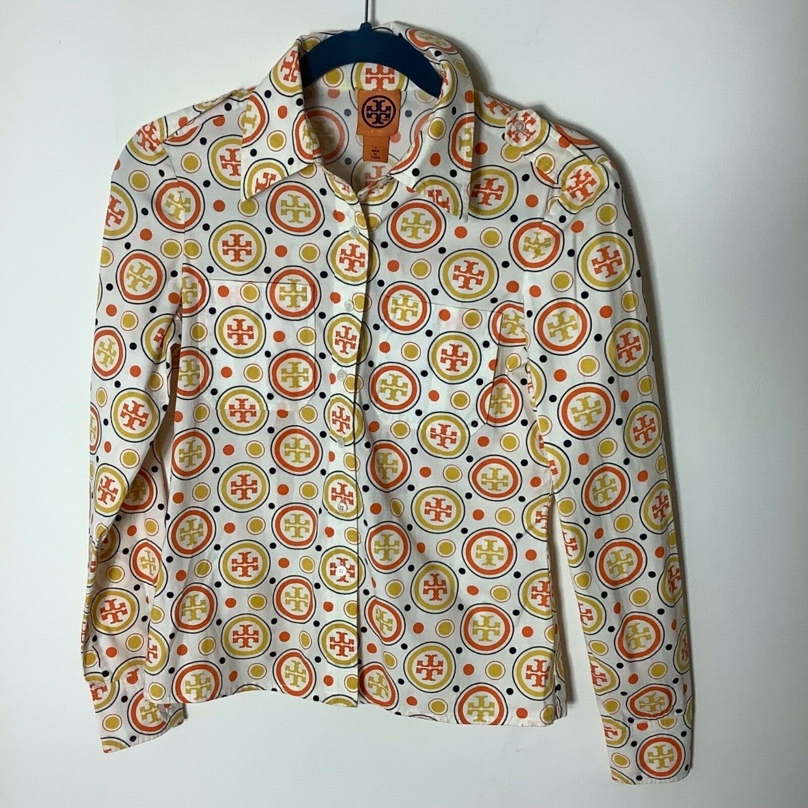 Tory Burch logo hommeches longues bouton bas chemise taille 2