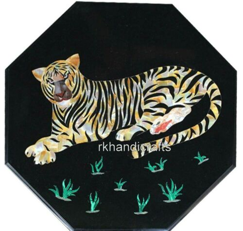 16 Inches Round Black Marble Side Table Top Inlay Corner table with Tiger Design