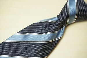 Ermenegildo Zegna Current Navy Baby Blue Striped 100% Silk Tie NEW W TAGS