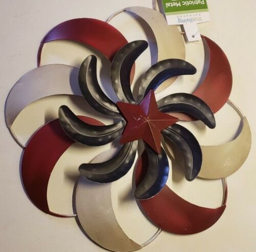 "Windmill Hanging Decoration Red Tan Blue Outdoor 3 Layers Metal Swirls 9.5/"" New"