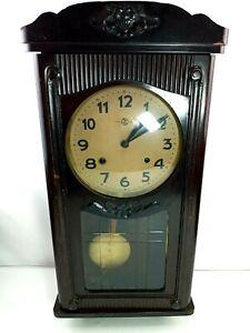 "Aikosha Wall Clock Real Wood Made In Japan 30"" Tall with Key"