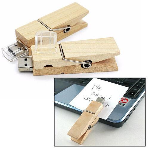 32Go USB 2.0 Clé USB Clef Mémoire Flash Data Stockage Pince à Linge Bois