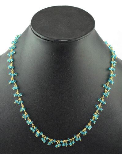 Blauer topacio Hydro largo collar de alambre propagael rosario perlas link joyas