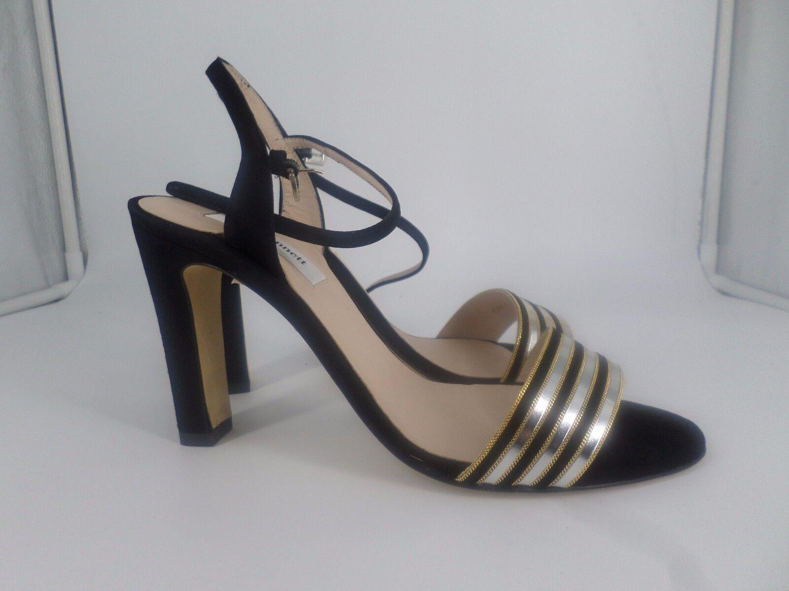 L K Bennett SAMANTHA Black Silver Suede Sandals rrp  UK 6.5 LG01 53 SALEs