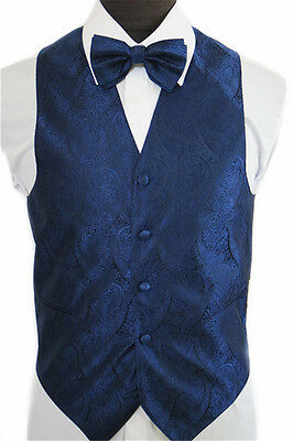 New Amanti TV801 Mens Paisley Navy Blue  4PC Set Formal Tuxedo Vest