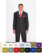 New Men's Basic Suit Single Breasted 3 Button 14 Unique Colors Size 38R~60L
