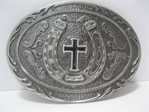 PEWTER HORSESHOE /& CROSS Belt Buckle #166