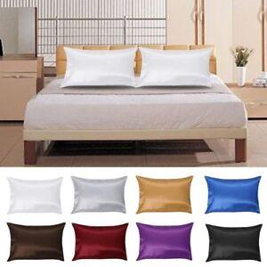 Taie-d-039-oreiller-en-satin-soyeux-standard-lisse-de-taie-d-039-oreiller-de-couleurs