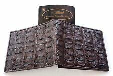 Genuine Real Bone Crocodile Alligator Skin Leather Man Bifold Dark Brown Wallet