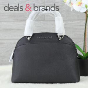 b7ecf5dac472 NWT MICHAEL KORS Emmy SM Dome Leather Satchel 35H7SY3S1L in BLACK ...