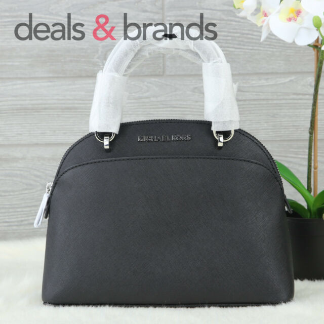 Michael Kors Emmy Small Dome Satchel Leather Black Crossbody 35H7SY3S1L