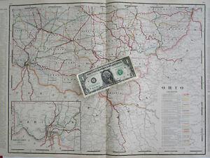 1896 SOUTHERN OHIO Cram RAILROAD Map 19th Century S OH RAILWAY 1800s ...