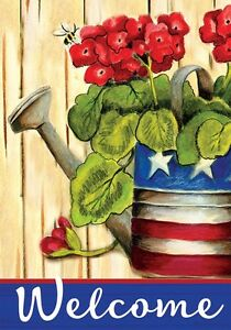 PATRIOTIC GERANIUMS Welcome WATERING CAN 2 Sided Custom Decor House Flag USA