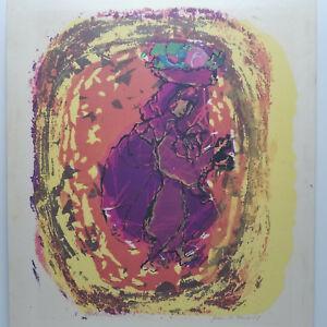 Mid-Century-Abstract-Silkscreen-Signed-Roach-Wall-Art-Purple-Yellow-Vintage