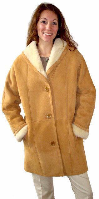 Ladies Shawl Collar Shearling Coat, size Small Small Small 13c413