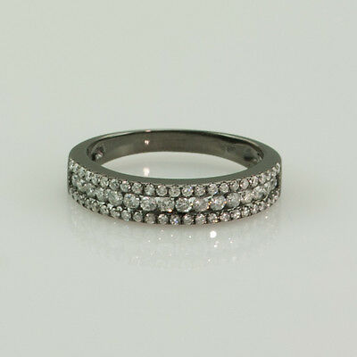 1.00 CT. SI1 -G DIAMONDS 14K BLACK GOLD WEDDING & ANNIVERSARY BAND RING size 6.5