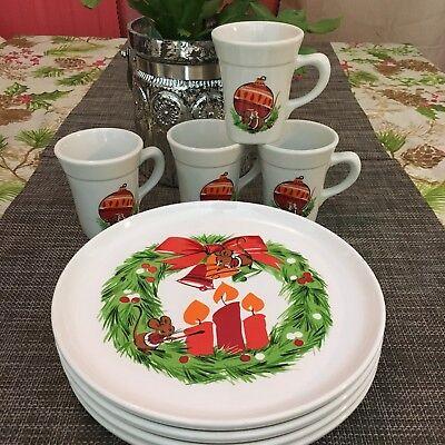 Christmas Plate Set.8 Vintage Syracuse China Christmas Dish Set Mice 1960s Plate Mug Rare Dinnerware Ebay