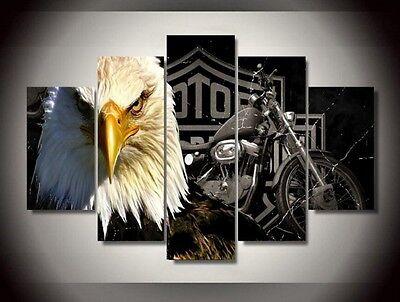5 Panels Harley Davidson Motor Cycles Eagle Painting Canvas Wall Art Home Decor