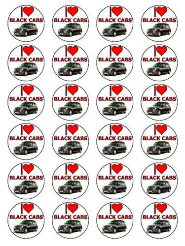 """I love black cab taxi fantaisie cupcake topper sur papier de riz 1.5/"""" 24 par jeu"""