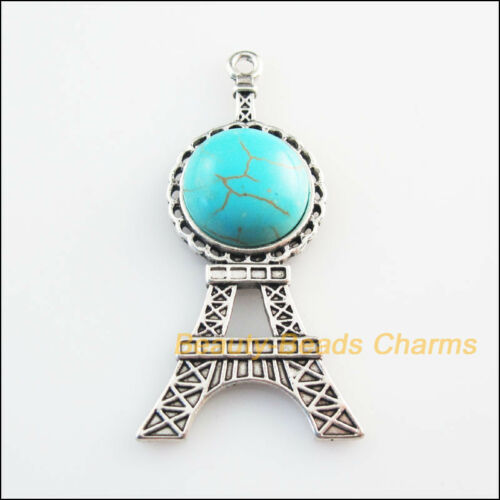 3 New Retro Charms Tibetan Silver Tone Turquoise Eiffel Tower Pendants 24x46mm