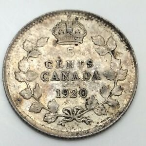1920 Canada Small 5 Five Cents Silver Circulated Canadian Coin D460 Ebay