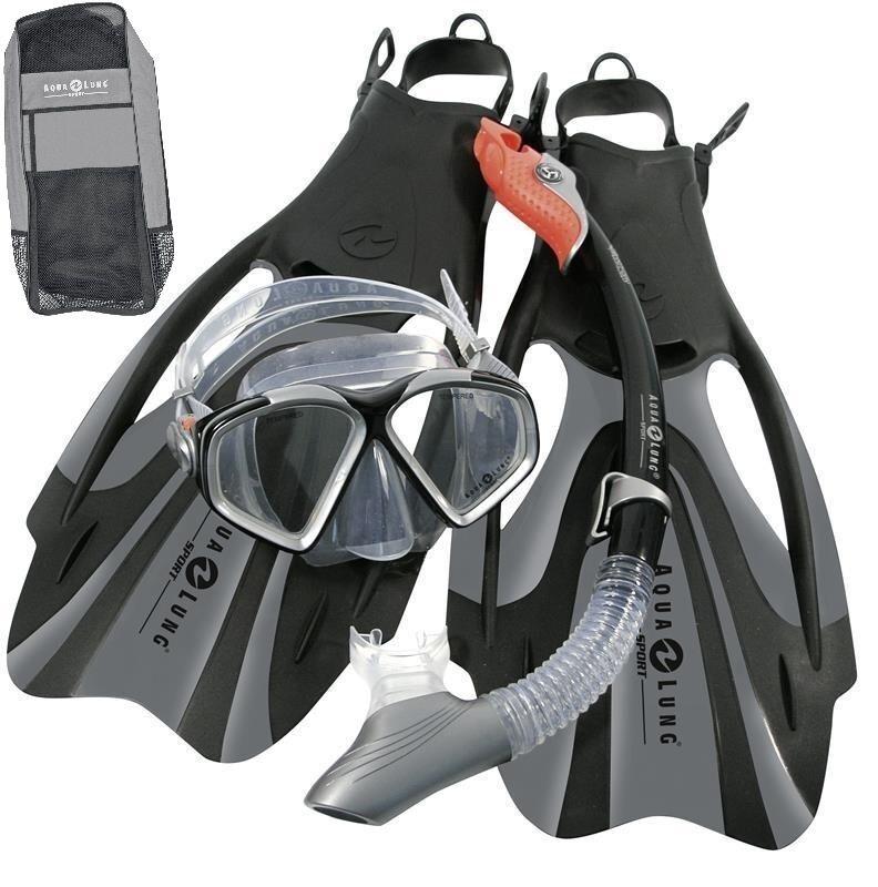 Aqualung Proflex FX AD 36-40 Professional ABC Set Mask Snorkel FINS + Tasche