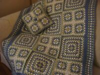 Hand Crocheted Afghan, Lap, Throw And Matching Pillow - Oceanside
