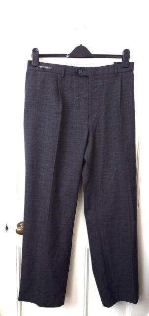 M&s moderne Adapté Léger Pantalon 46 W 31 L Flat Front Gris supercrease Neuf avec Étiquettes £ 39