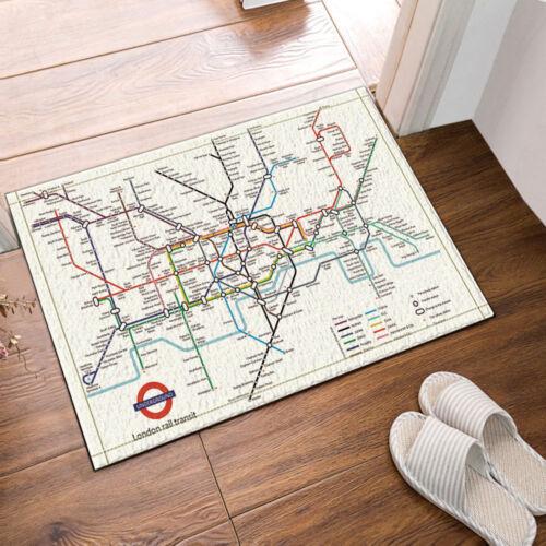 Subway map Bathroom Shower Curtain Waterproof Fabric w//12 Hooks 71*71inch
