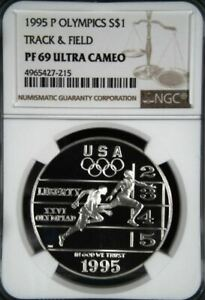1995-P OLYMPICS TRACK /& FIELD SILVER PROOF $1 NGC PF69 ULTRA CAMEO