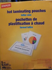 Staples Letter Size Thermal Laminating Pouches 5 mil 100 pack