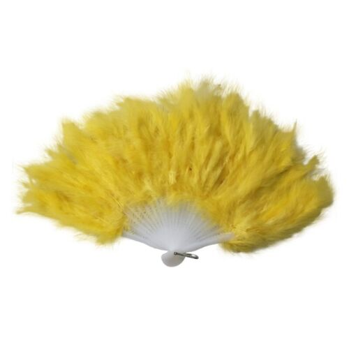 Ladies Women 1920s Burlesque Hand Hold Feather Fan Fancy Dress Costume Accessory